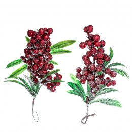 Deco twigs with red frosted berries - 2 pcs