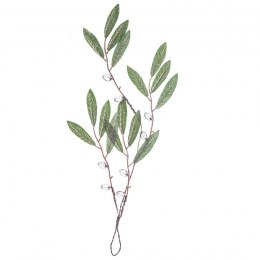 Iced olive twig with cristals - 1 piece - 40 cm