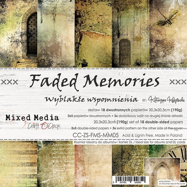 SCRAPBOOKING PAPER PAD - 20x20 CM - FADED MEMORIES - CRAFT O`CLOCK