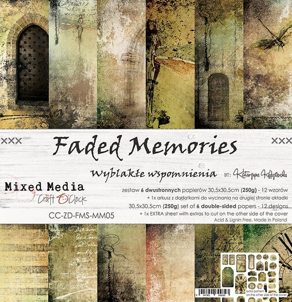 SCRAPBOOKING PAPER PAD - 30X30 CM - FADED MEMORIES - CRAFT O`CLOCK