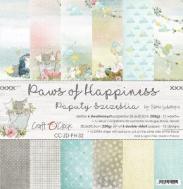 SCRAPBOOKING PAPER - PAWS OF HAPINNESS - CRAFT O CLOCK