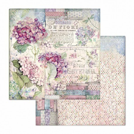 Scrapbooking paper pad - 20x20 - Hortenia collection - Stamperia - 10 sheets