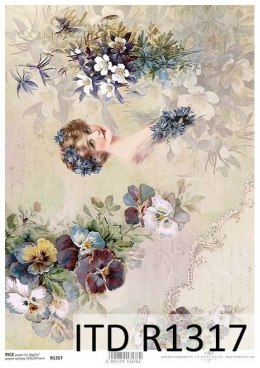 Rice paper flowers -vintage flowers with woman