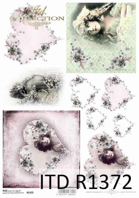 Rice paper - flowers, faces of girls, Vintage