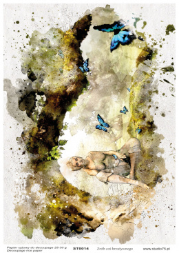 Rice Paper - woman with butterflies - mixedmedia - Studio75