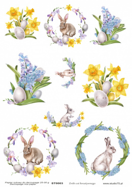 Easter Rice Paper - daffodils, eggs, hare, rabbit - Studio75
