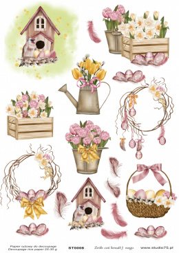 Rice Paper -tulips, birdhouse, Easter eggs, feathers - Studio75