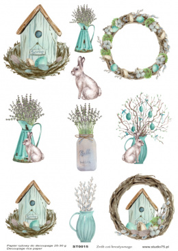 Rice Paper - birdhouse, Easter eggs, lavender - Studio75