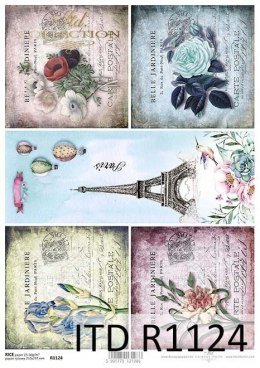 Rice paper- flowers, Eiffel Tower, Paris