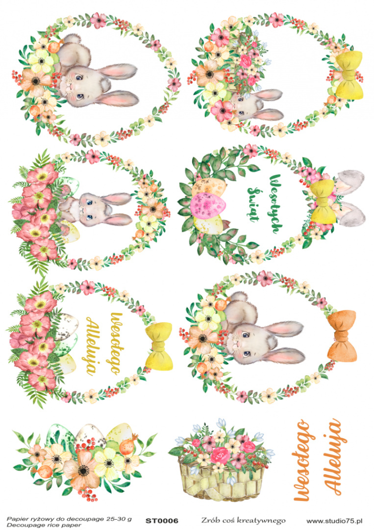 Easter Rice Paper - bunnies, eggs, flowers