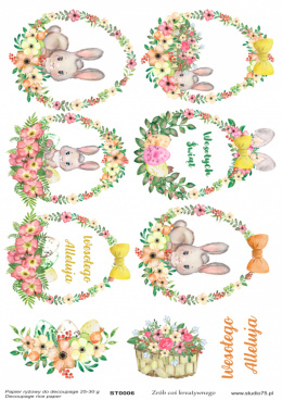 Easter Rice Paper - bunnies, eggs, flowers - Studio75