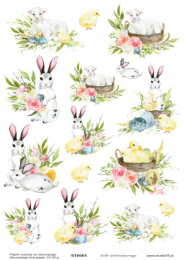 Easter Rice Paper - lamb, eggs, flowers, rabbits - Studio75