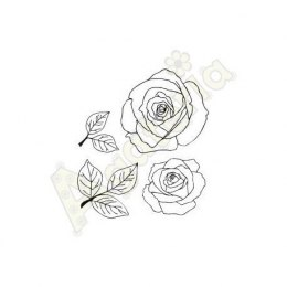 Scrapbooking stamp - roses and leaves - Agateria