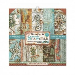 STAMPERIA- 20,3x20,3cm 10szt. SEA WORLD ,10 pcs, SET OF PAPERS