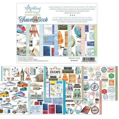 Travel book paper pad with elements for fussy cutting