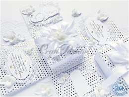 White & Gold 01 - premium scrapbooking paper with a silver foil pattern
