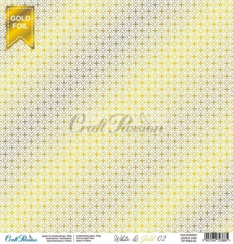 White & Gold 02 - premium scrapbooking paper with a silver foil pattern