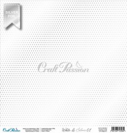 White & Silver 01 - premium scrapbooking paper with a silver foil pattern