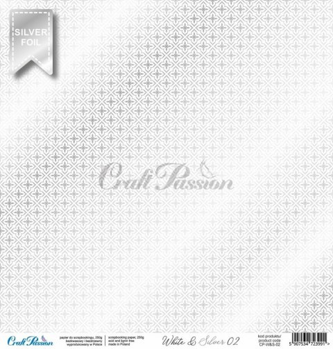 White & Silver 02 - premium scrapbooking paper with a silver foil pattern
